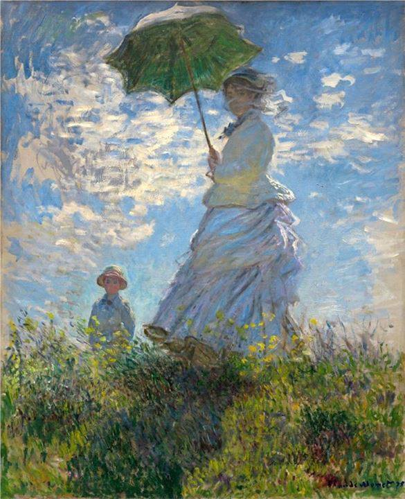 Claude Monet (French, Impressionism, 1840-1926): The Promenade, Woman with a Parasol (Madame Monet and Her Son / note: Camille and Jean, Monet's first wife and son), 1875. Oil on canvas, 100 x 81 cm. National Gallery of Art, Washington D.C., USA.